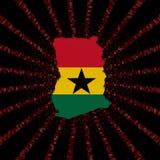 Ghana mapy flaga na czerwonej hex kodu wybuchu ilustraci Fotografia Royalty Free