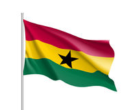 Ghana realistic flag. Ghana flag. Illustration of African country waving flag on flagpole. Vector 3d icon isolated on white background. Realistic illustration Royalty Free Stock Photos