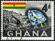 GHANA - 1959: shower diamant och min Arkivbild