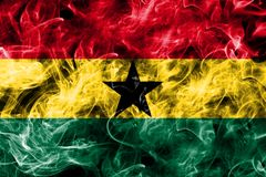 Ghana smoke flag isolated on a black background.  Stock Images