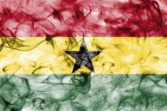 Ghana smoke flag isolated on a white background. Ghana smoke flag isolated on a white background Stock Images