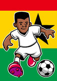 Ghana soccer player with flag background Stock Photo
