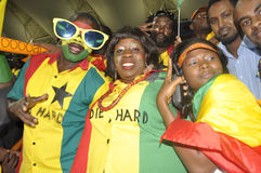 Ghana supporters. The African powerhouse Ghana  growth in confidence by beating Niger in the African cup by 3 goals to o.Their coach Kwesi appiah was overjoyed Stock Image