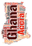 Ghana top travel destinations word cloud. Ghana map silhouette word cloud with most popular travel destinations Stock Photo