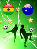 Ghana versus Australia on Abstract Green Stars Background Royalty Free Stock Photos