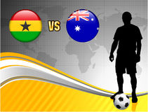 Ghana versus Australia on Abstract World Map Background Royalty Free Stock Images