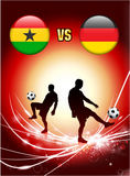 Ghana versus Germany on Abstract Red Light Background Stock Photo