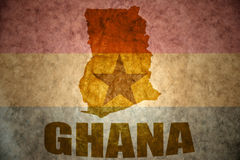 Ghana vintage map. Ghana map on a vintage ghanaian flag background Stock Photos