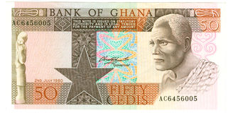 Ghanaian banknote. Fifty or 50 cedis Ghanaian banknote; isolated on white background Stock Photos