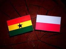 Ghanaian flag with Polish flag on a tree stump isolated. Ghanaian flag with Polish flag on a tree stump vector illustration