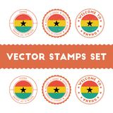 Ghanaian flag rubber stamps set. Stock Photography