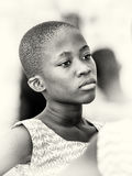 Ghanaian girl with a thinking face Stock Photo