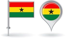Ghanaian pin icon and map pointer flag. Vector Stock Photos