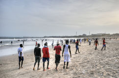 Ghanaians on the Beach for the May 1st, Labour Day Holiday Royalty Free Stock Photo