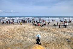 Ghanaians sulla spiaggia per il 1° maggio, festa di giorno di lavoro Immagini Stock Libere da Diritti