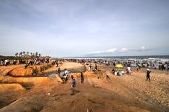 Ghanaians sulla spiaggia per il 1° maggio, festa di giorno di lavoro Fotografie Stock