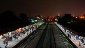 Ghandinagar火车站在斋浦尔印度 免版税库存照片