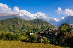 Ghandruk by i den Annapurna regionen Arkivbild
