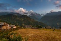Ghandruk Kaski område, Nepal Royaltyfria Bilder