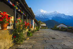 Ghandruk by med södra Annapurna Arkivfoton