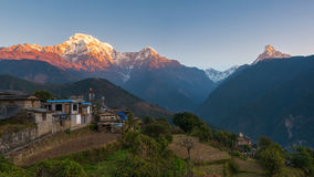 Ghandruk village, Nepal. Ghandruk village at sunrise, with Annapurna range in background, Nepal Royalty Free Stock Images