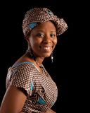 Ghanese portrait. Portrait of a young ghanese woman in traditional african dress Stock Photos
