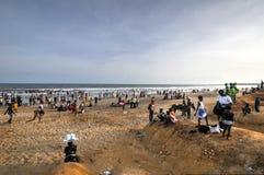 Ghanezen op het Strand voor 1 Mei, de Vakantie van de Arbeidsdag Stock Fotografie