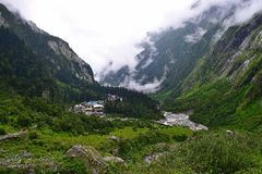 Ghangaria Village, Uttarakhand, India. Ghangaria Village is a small village, which is a base camp for trekking for Valley of Flowers National Park and Hemkund stock image