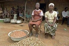 Ghanian母亲和孩子家庭画象  库存图片