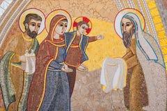Religious christian mosaics in Ta Pinu, Malta Royalty Free Stock Image