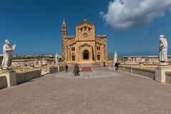 Neo romanesque catholic church. Ta Pinu, Malta. GHARB, GOZO, MALTA - AUGUST 22, 2017: The neo romanesque church of Ta Pinu is a Roman Catholic minor basilica and Royalty Free Stock Photography