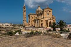 Neo romanesque catholic church. Ta Pinu, Malta. GHARB, GOZO, MALTA - AUGUST 22, 2017: The neo romanesque church of Ta Pinu is a Roman Catholic minor basilica and Stock Photo