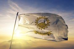 Gharbiya Governorate of Egypt flag textile cloth fabric waving on the top sunrise mist fog. Beautiful royalty free stock photos