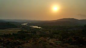 从ghat的日落 免版税库存图片