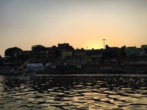 Ghat bruciante a Varanasi, India Fotografia Stock