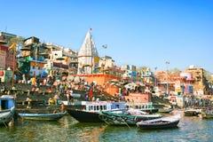 Ghat de Prayag no rio sagrado Ganges Fotografia de Stock