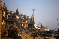 Ghat di cremazione di Varanasi Fotografie Stock Libere da Diritti