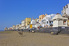Ghat on low tide Royalty Free Stock Images