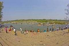 Ghat on the sacred river Kaveri Royalty Free Stock Photo