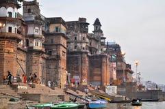 Ghat in Varanasi, Indien Stockbild