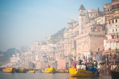 Ghates of Varanasi. India, riverside of Ganges Royalty Free Stock Photo