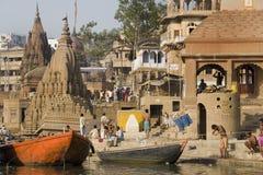ghats印度印度瓦腊纳西 免版税库存照片