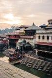 Ghats в Pashupatinath, Катманду, Непале стоковое фото rf