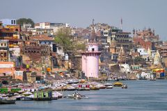 Ghats on the banks of Ganges river, Varanasi Royalty Free Stock Photos