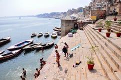 Ghats en Varanasi, la India Fotos de archivo libres de regalías