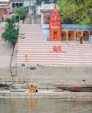 ghats hinduiska india varanasi Fotografering för Bildbyråer