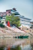 ghats hinduiska india varanasi Arkivfoton