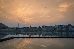 Ghats on the holy Lake of Pushkar, Rajasthan, India, by the sunset Royalty Free Stock Images