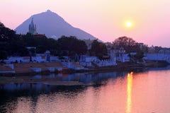 ghats ind jeziorny pushkar Rajasthan obraz stock