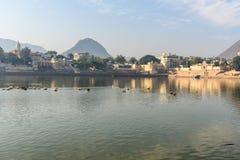 Ghats przy Pushkar jeziorem Emigracyjni pelikanów ptaki w jeziorze Rajasthan indu zdjęcia stock